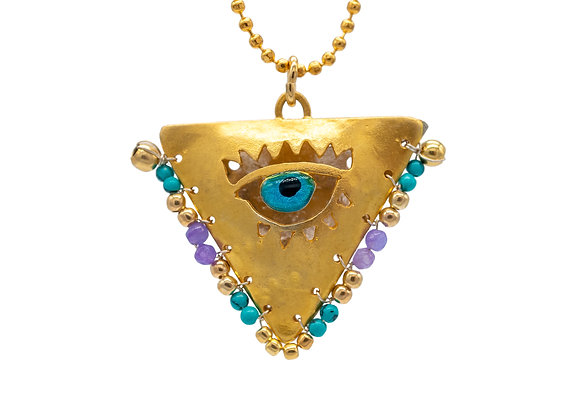 """Boho Petrol & Lilac """"Fylachto"""" Talisman Pendant in gold-plated silver"""