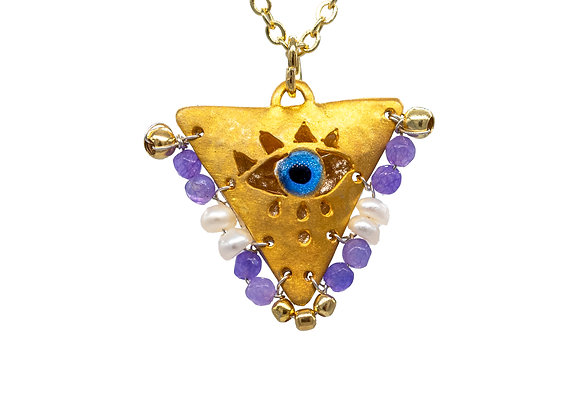 """Lilac Purple & Pearl White """"Fylachto"""" Talisman Pendant in gold-plated silver"""