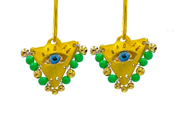 """Lime Green """"Fylachto"""" Talisman Earrings in gold-plated silver"""