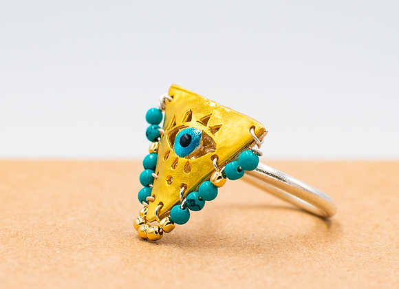 "Petrol Green ""Fylachto"" Talisman Ring in gold-plated silver"