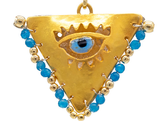 """Cycladian Blue """"Fylachto"""" Talisman Pendant in gold-plated silver"""