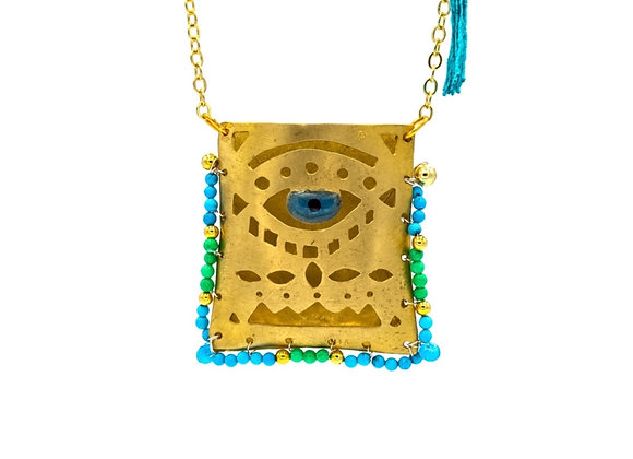Boho Evil Eye Tagári, Talisman, in Cycladian Blue and Lime, Gold-Plated, Pendant