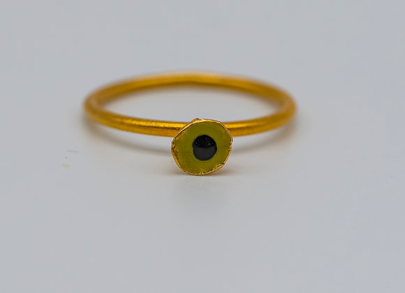 Kiwi Green Flower, Ring, in Gold Plated Silver