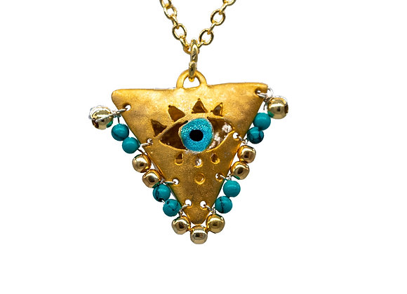 "Petrol Green ""Fylachto"" Talisman Pendant in gold-plated silver"