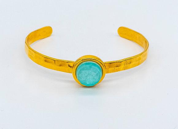 Turquoise Dream Gold Bangle Bracelet