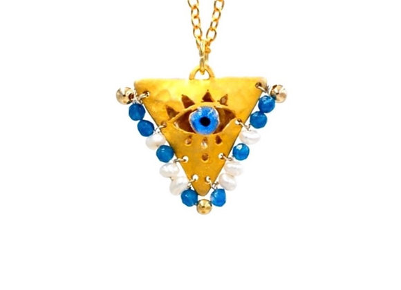 "Cycladian Blue and Pearl White ""Fylachto"" Talisman Pendant in gold-plated silver"
