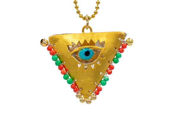 """Viridian Green and Coral """"Fylachto"""" Talisman Pendant in gold-plated silver"""