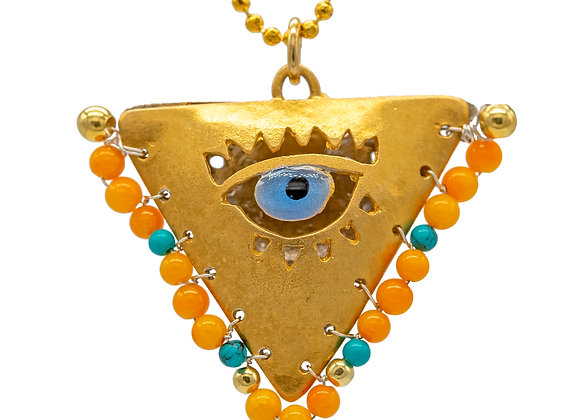 """Canary & Petrol Green  """"Fylachto"""" Talisman Pendant in gold-plated silver"""