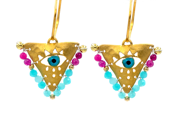 """Fuchsia and Turquoise """"Fylachto"""" Talisman Earrings in gold-plated silver"""