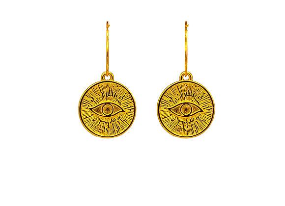 Tereza's Gold Evil Eye, Hoop Earrings