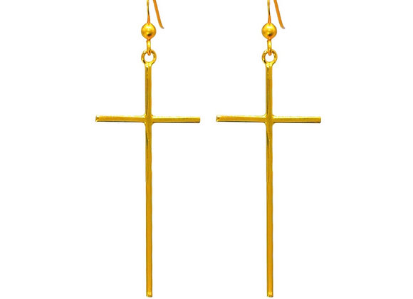 Tereza's 24K Gold Cross, Earrings, Gold Plated Sterling Silver