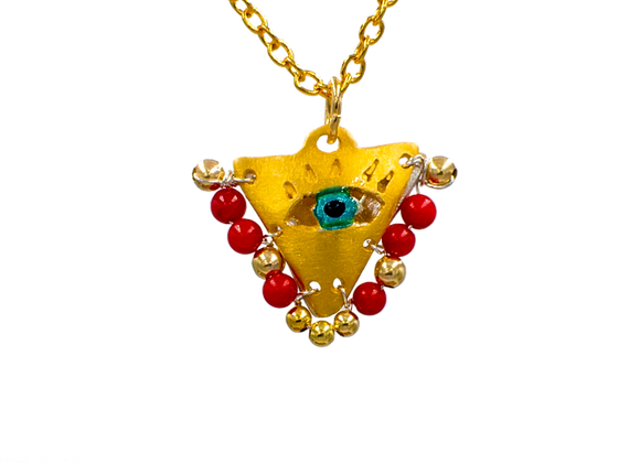 "Passion Red ""Fylachto"" Talisman Pendant in gold-plated silver"