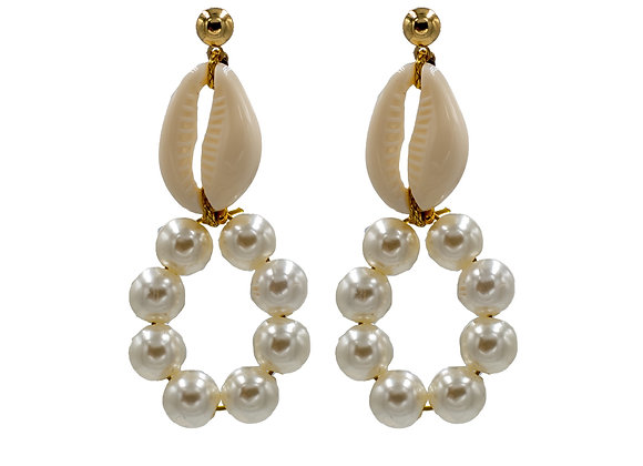 Mother of Shell, Freshwater Pearl, Hoop Earrings