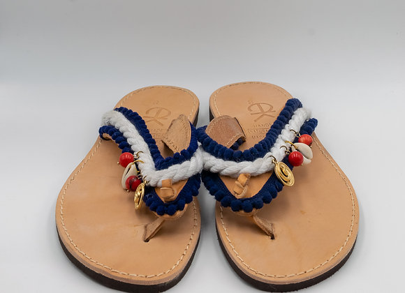 Handmade, Spiral Sandals with Nautical Rope, Greek leather