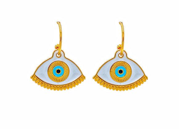 Gold Evil Eye in White, Earrings