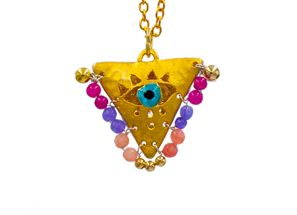 """Purple, Violet and Pink """"Fylachto"""" Talisman Pendant in gold-plated silver"""