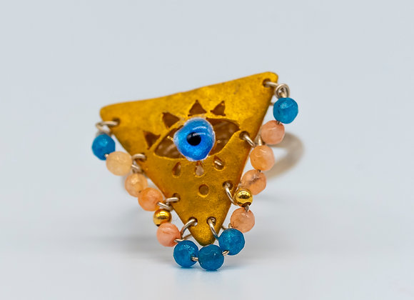 "Aegean Blue and Baby Pink ""Fylachto"" Talisman Ring in gold-plated silver"