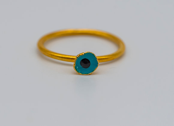 Petrol Flower, Ring, in Gold Plated Silver