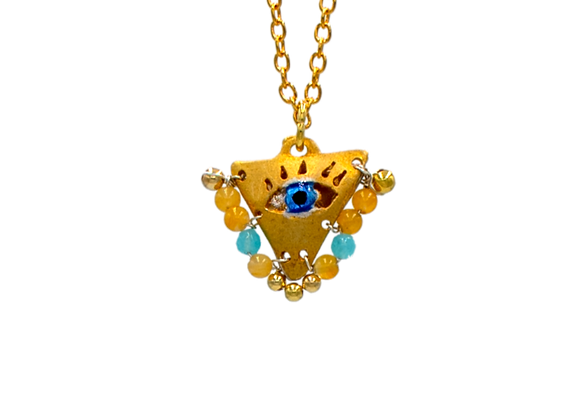 "Amber and Light Blue ""Fylachto"" Talisman Pendant in gold-plated silver"
