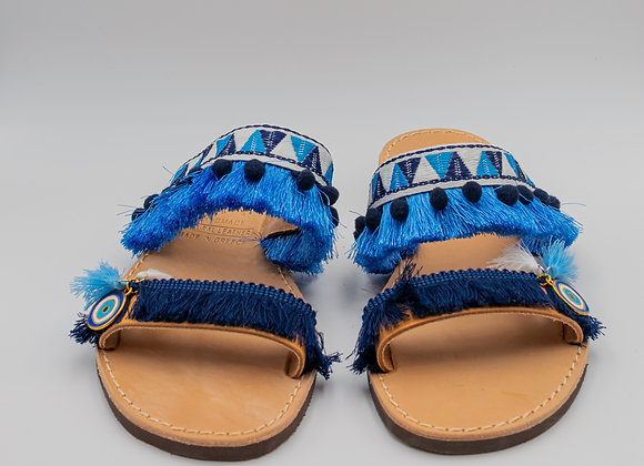 Ethnic Evil Eye, in Blue, Sandals, Hand made Greek Leather