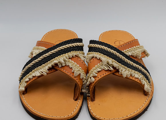 Black and Gold, Handmade, Greek leather Sandals
