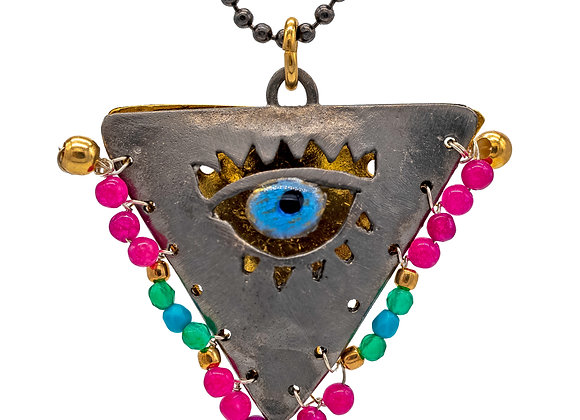 """Limited: Boho Black """"Fylachto"""" Talisman Pendant in gold-plated silver"""