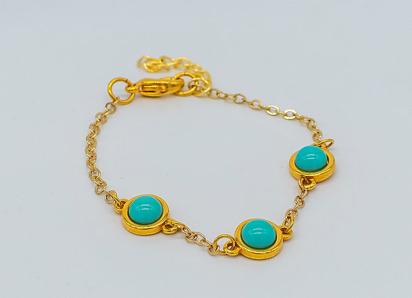 Turquoise Lucky Charm, Gold, Bracelet