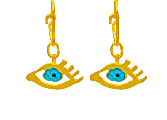 Eye of Gold in Turquoise, Earrings in gold-plated silver