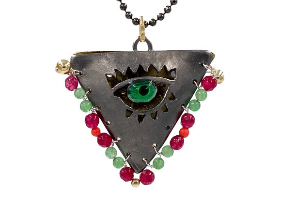 """Limited: Pale Green and Ruby on Black """"Fylachto"""" Talisman Pendant in gold-plated"""
