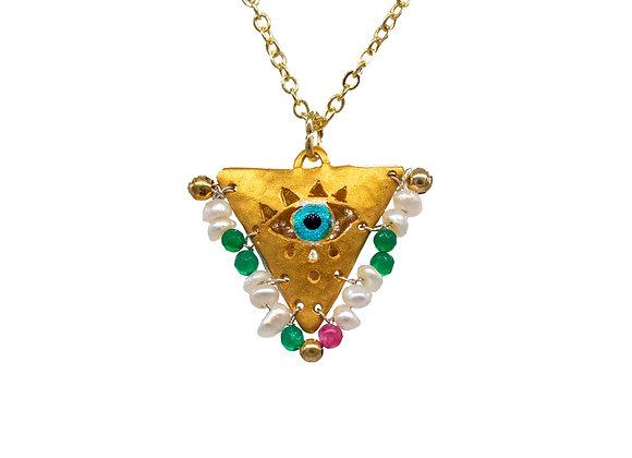 "Pearl White, Fuchsia & Emerald ""Fylachto"" Talisman Pendant in gold-plated silver"