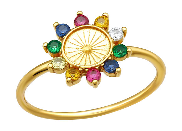 Tereza's Zircon Flower, Ring, Gold-plated Silver