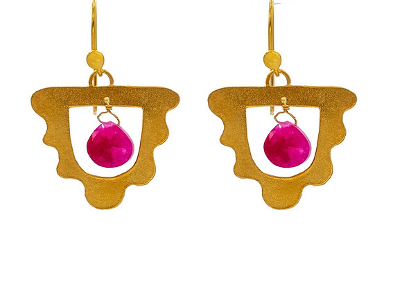 Cleopatra the Bohemian in Sangria Purple, Earrings, in Gold Plated Silver