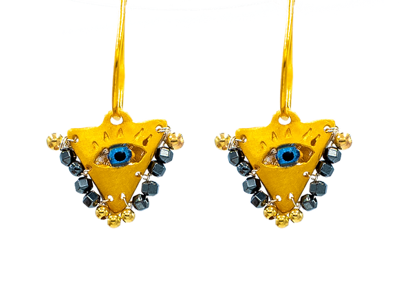 "Limited: Jet Black ""Fylachto"" Talisman Earrings in gold-plated silver"