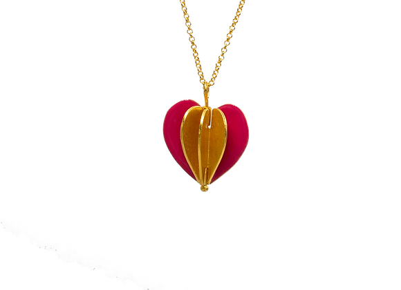 Heart Foldable Gold Plated Silver Pendant
