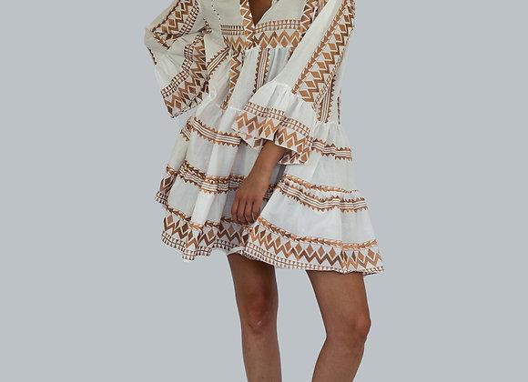 Boho Mini Kaftan, Dress, Bronze