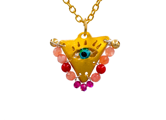 "Shades of Pink ""Fylachto"" Talisman Pendant in gold-plated silver"