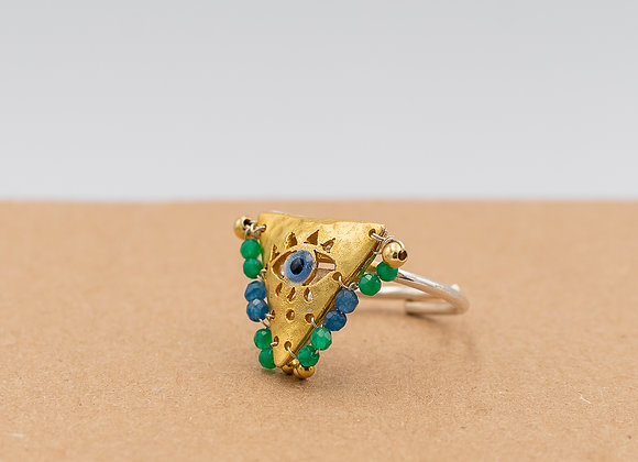 """Green and Aegean Blue """"Fylachto"""" Talisman Ring in gold-plated silver"""