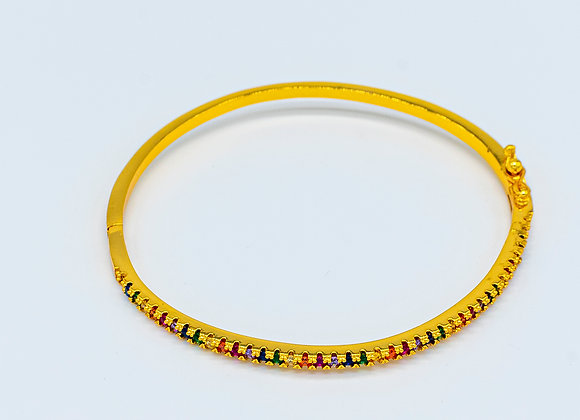Rainbow Zircon, Colourful, Gold Bracelet