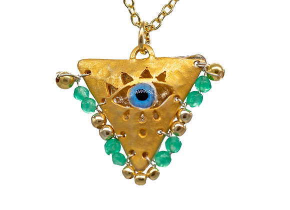 """Mint Green """"Fylachto"""" Talisman Pendant in Gold-Plated Silver"""