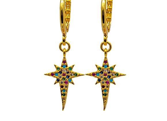 Rainbow Zircon, Star, Hoop Earrings