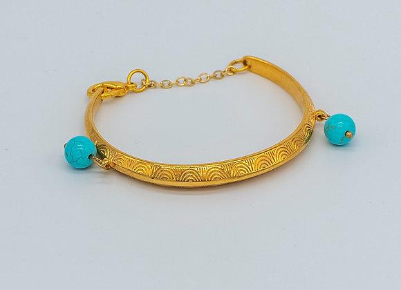 Turquoise Dream, Gold Bangle, Bracelet