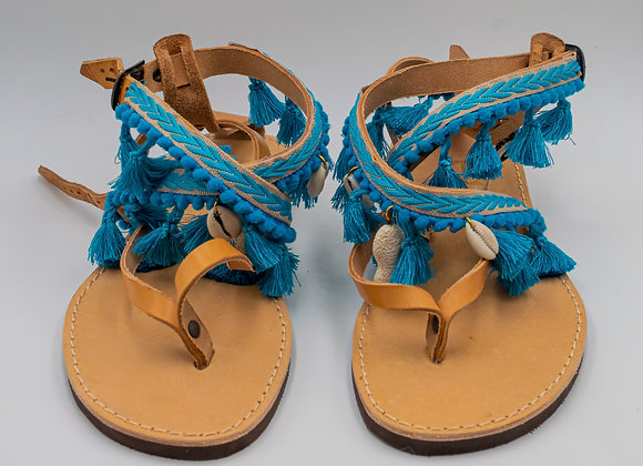 Boho, Sea Shell in Blue, Hand-decorated Sandals