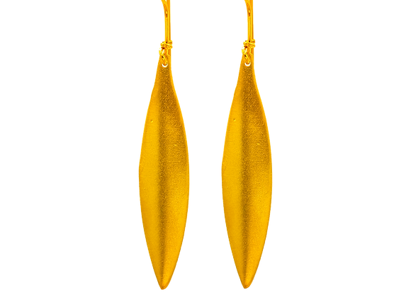 Golden Olive Leaf, Earrings, in Gold Plated Silver
