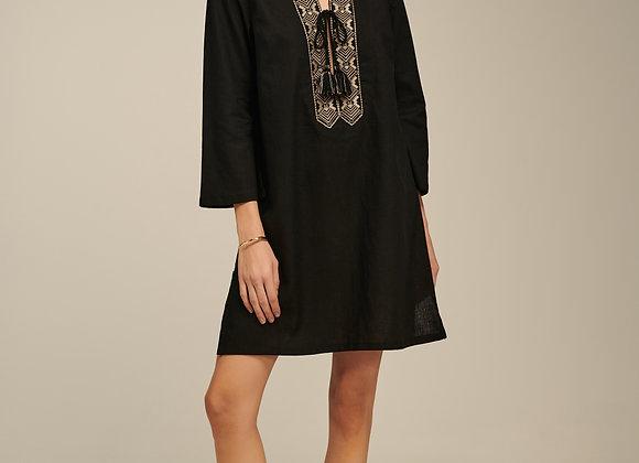 Ione Kaftan, Linen Dress in Black