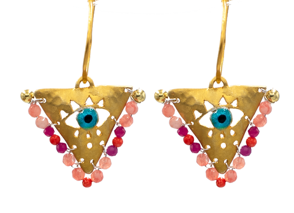 """Shades of Pink """"Fylachto"""" Talisman Earrings in gold-plate"""