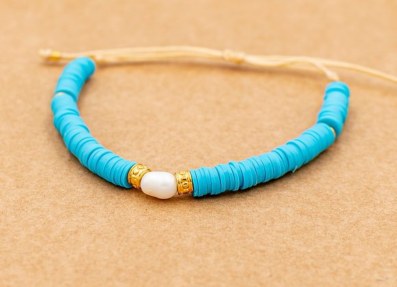 Boho Style, Freshwater Pearl in Blue, Summer Bracelet