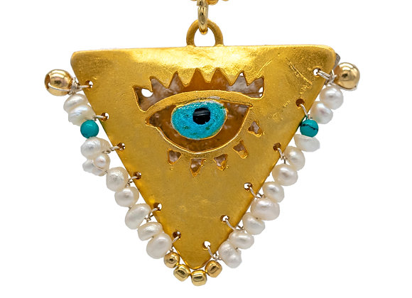 "Pearl White & Petrol ""Fylachto"" Talisman Pendant in gold-plated silver"