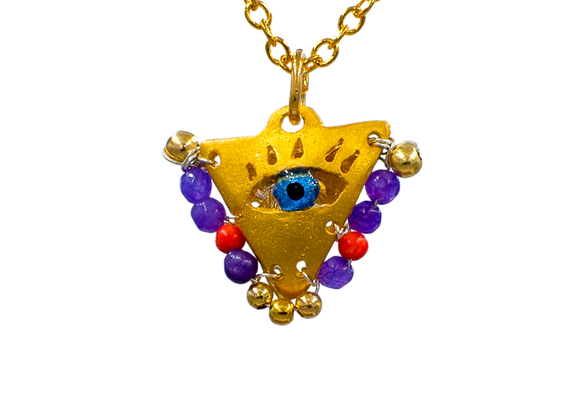 "Purple & Red ""Fylachto"" Talisman Pendant in gold-plated silver"