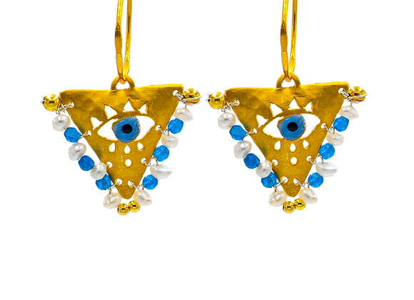 "Pearl White & Cycladian Blue ""Fylachto"" Talisman Earrings in gold-plated silver"