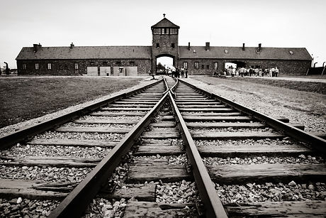 classic historical view of Auschwitz death camp in sepia.jpg